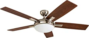 """Prominence Home 51023 Emporia Contemporary Ceiling Fan with Remote, 52"""", Brushed Nickel"""