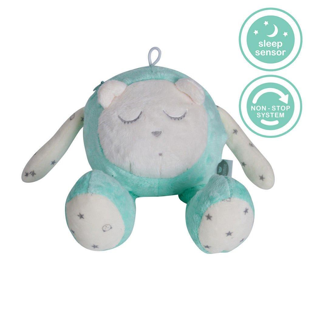 Jouet pour bébé MyHummy SZUMISIE - Jouet de nuit apaisant avec capteur de pleurs et système non-stop Menthe
