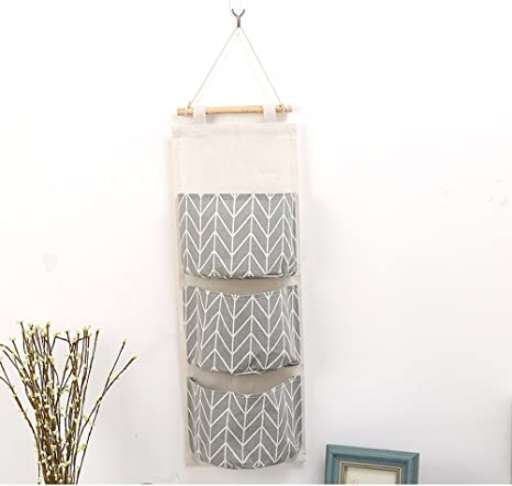 Kitchen Office,Bathroom MAGT Cute Over Door Hanging Organizer Cotton Linen Wall Closet Storage Bag Case With 3 Pockets,Ideal For Bedroom 20 X 67 Cm Color : Gray