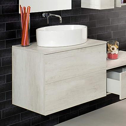 UNIKA - Mobile sospeso con cassetti per lavabo d\'appoggio cm 70-80 ...