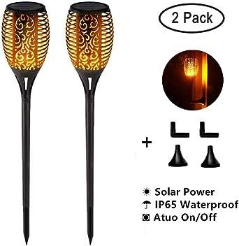 antorchas solares para jardín, 96 luces solares LED, luz de jardín solar, lámparas solares para exterior con llamas realistas, fácil montaje y resistente al agua IP65, 2 PACK Runde: Amazon.es: Iluminación