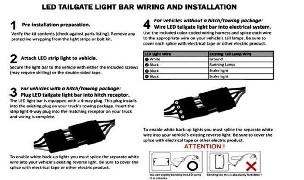 Amazoncom Ecowlboy 60 Inch Red White Tailgate LED Strip Light