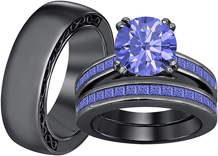 SVC-JEWELS Engagement Wedding Band Chess Mens Ring 925 Sterling Silver Plated Round Cut Blue Sapphire