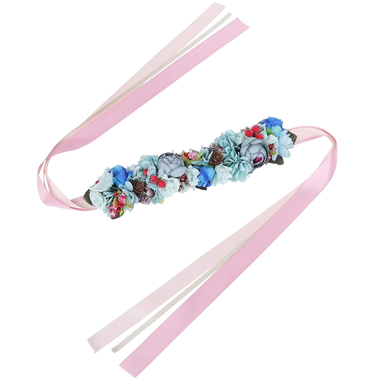 AWAYTR Femme Fleur Bandeaux Guirlande Couronne Rose Pur Fait main R/églable Filles Bandeau Floral T/ête de Mousse avec Ruban pour la noce