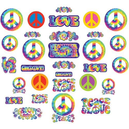 Amscan Feeling Groovy 60's Theme Party Pyschedelic Cutout Assortment Decoration, Mega Value Pack Party Supplies (Pack Sign Assortment)