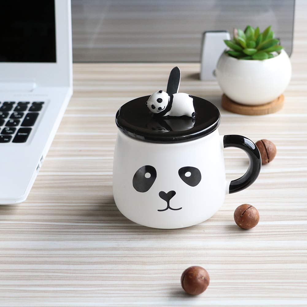 EPFamily Cute White 3D Panda Mug Funny Porcelain Coffee Mugs Set Small Ceramic Tea Cups Black with Lid and Spoon Gifts for Women Men Mom Grandma 14 Oz-C by EPFamily (Image #2)