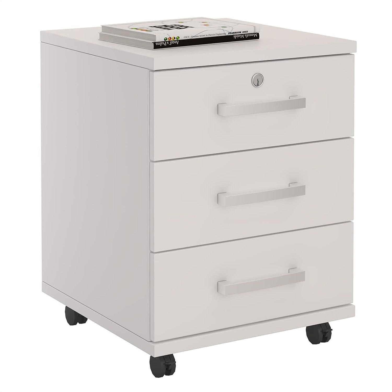 Cajonera con ruedas Yoan para almacenaje de escritorio, 3 cajones color blanco: Amazon.es: Hogar