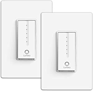 Smart Dimmer Switch, Lumary Single Pole Wi-Fi Light Switch Works with Alexa Google Assistant, No Hub Required,Neutral Wire Required, ETL & FCC Certified (2 Packs)