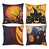 Halloween Throw Pillow Covers - 4-Pack Decorative Couch Throw Pillow Cases, Spooky Halloween Haunted House and Scary Pumpkin Design, Festive Home Decor Cushion Covers, Fits 18 x 18 Inches Pillows