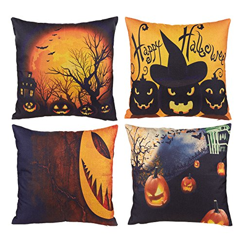 Halloween Throw Pillow Covers - 4-Pack Decorative Couch Throw Pillow Cases, Spooky Halloween Haunted House and Scary Pumpkin Design, Festive Home Decor Cushion Covers, Fits 18 x 18 Inches Pillows (Halloween Couch Cover)