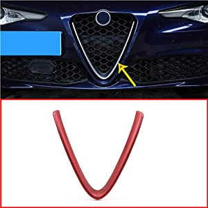 YIWANG Frosted Red ABS Plastic Front Grill Decoration Frame Trim for Alfa Romeo Giulia 2017 2018 2019 Parts (NOT Applicable for Stelvio) (Style 2)