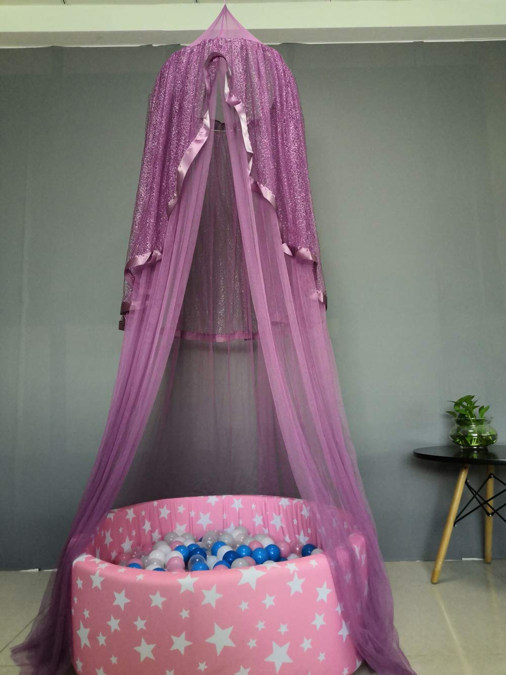 USTIDE Princess Bed Canopy - Beautiful Silver Lace Childrens Bed Canopy in Dreamy Purple