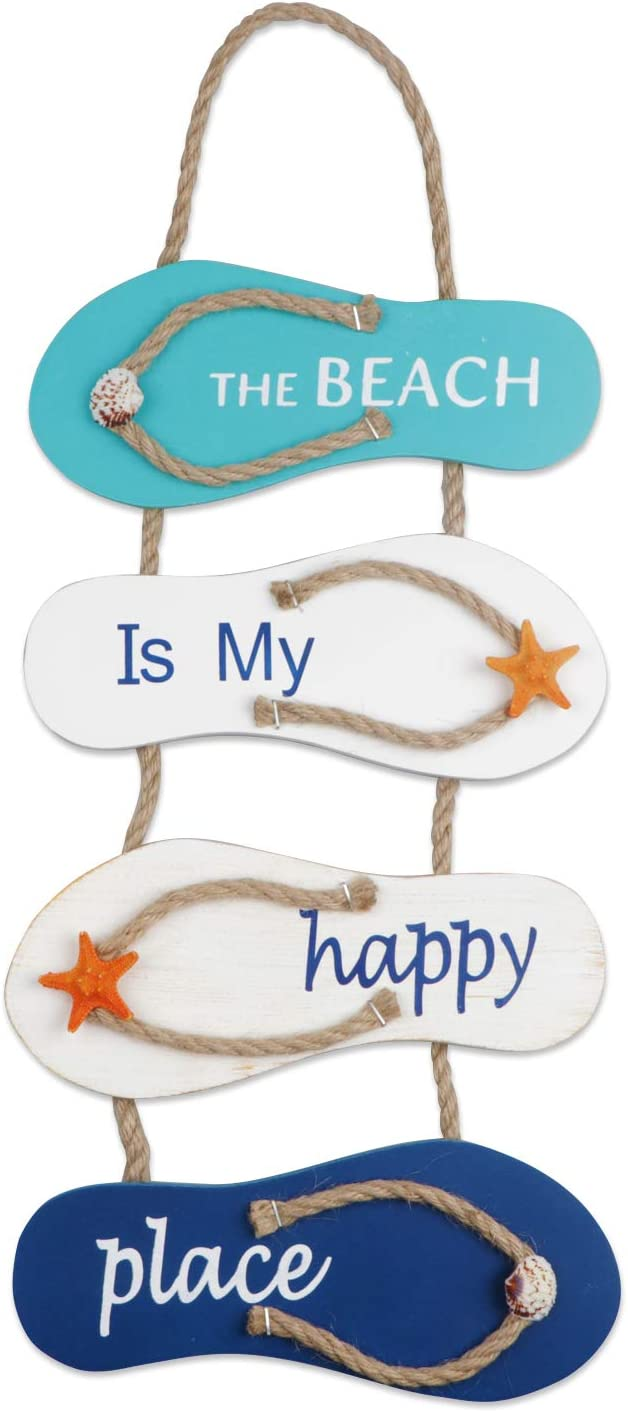 Meching Nautical Beach Flip Flop Wall Ornament Decoration Wooden Slippers Hanging Decoration, Ocean Home Hanging Ornament for Wall Decor Nautical Themed Home Décor, 21 x 8.7 x 0.4 Inches(White&Blue)