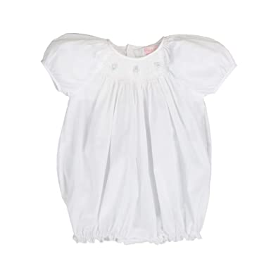 34c0e9494 Petit Ami Baby Girls' Hand-Embroidered Smocked Bubble with Pearls, Newborn,  White