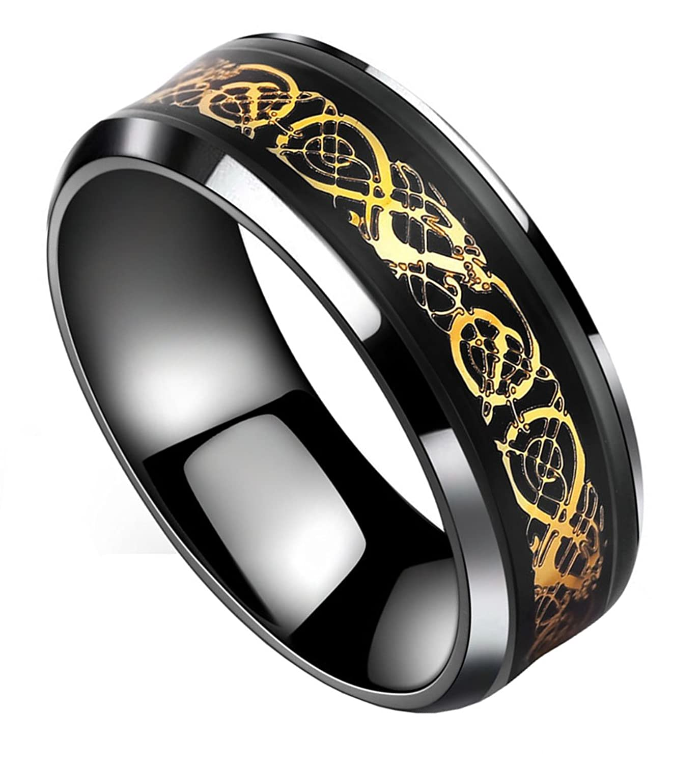 tanyoyo black gold celtic dragon stainless steel ring wedding band