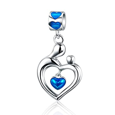 Everbling Love Mom Heart Dangle 925 Sterling Silver Bead Fits European Charm Bracelete