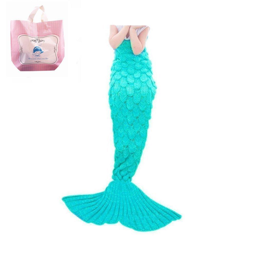 Mermaid Blanket,FYHAP Mermaid Tail Blanket Soft All Seasons,Sofa Quilt Living Room Super Sleeping Bags (Kids Scale Green)