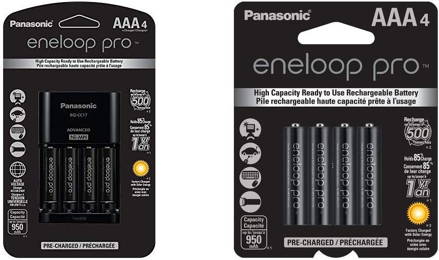 eneloop Panasonic Advanced Battery Charger Pack with 4 AAA Pro High Capacity Ni-MH Rechargeable Batteries & Panasonic eneloop pro AAA High Capacity Ni-MH Pre-Charged Rechargeable Batteries, 4 Pack