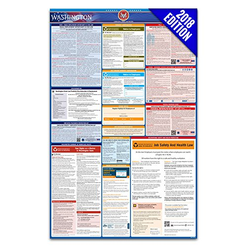 2018 Washington Labor Law Poster – State, Federal, OSHA Compliant – Laminated Mandatory All in One Poster by Labor Law Center Official