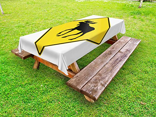 - Lunarable Moose Outdoor Tablecloth, Canadian Road Traffic Warning Sign with Elk Crossing Solitary Animals Print, Decorative Washable Picnic Table Cloth, 58 X 84 inches, Yellow and Black