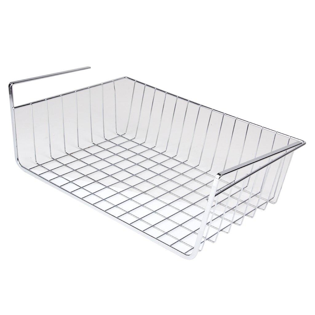 Kitchen Storage Space Under Basket Rack for Bookshelf Bookcase Closet Silver