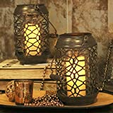 Valery Madelyn Decorative Candle Holder For Fireplace and Centerpiece, Metal Christmas Tea Light Holder with Detachable Cylindrical Glass Set Inside(Grid Pattern)