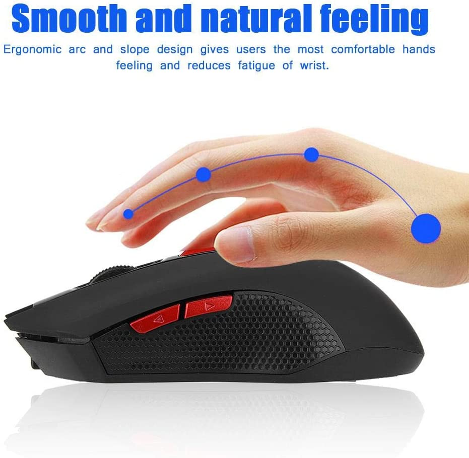 ASHATA Wireless Mouse,AHSATA Portable 2400DPI 2.4GHz Optical Gaming Mouse for PC//Laptop PC Mouse with USB Plug and Play for Windows 98se// Windows ME// 2000// XP// 2003 and Later,for MAC