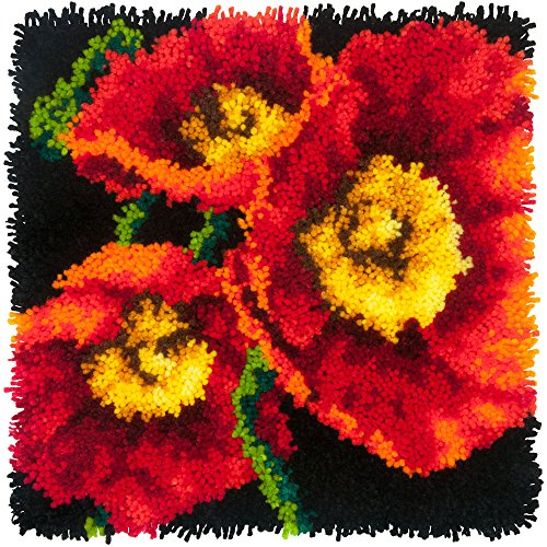 - Dimensions Needlecrafts Red Poppy Trio Flower Latch Hook Craft Kit for Kids, 16'' x 16''