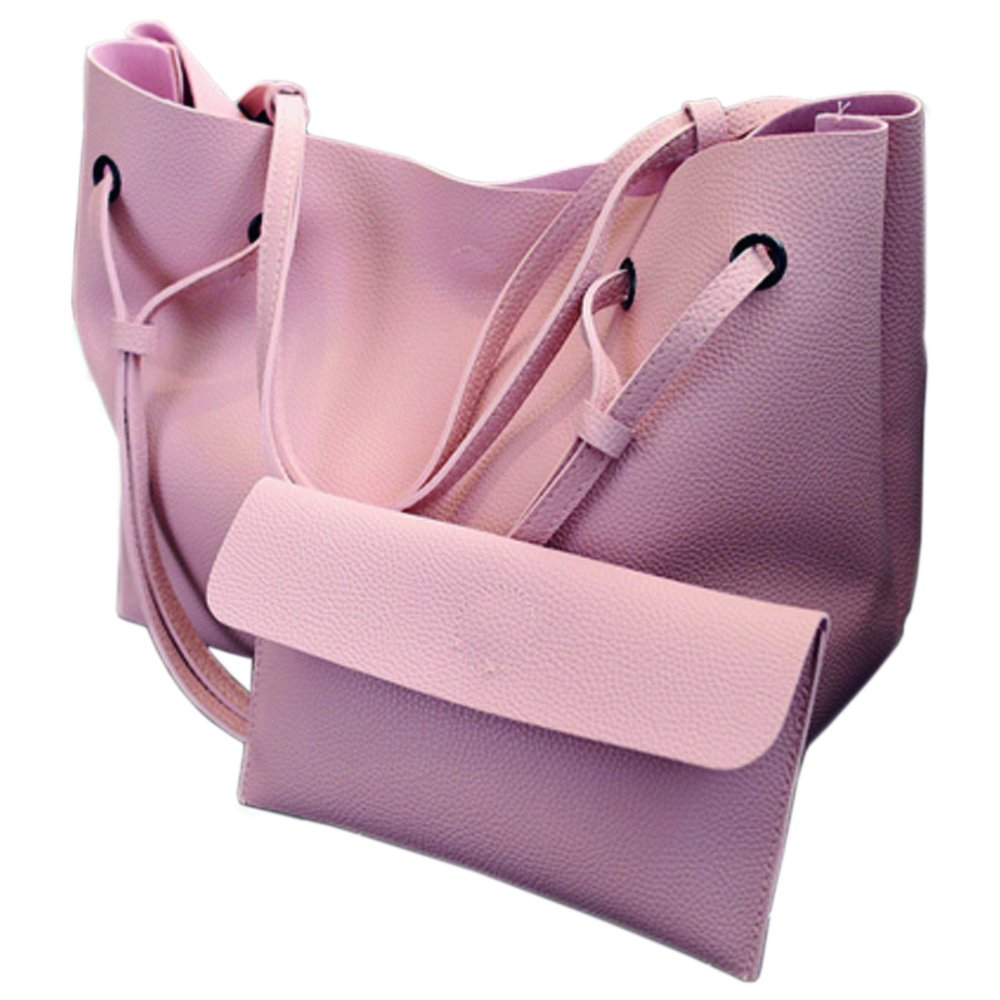 YUNS Lady Large Capacity Work Tote Bag Women Shoulder HandleBag (Pink)