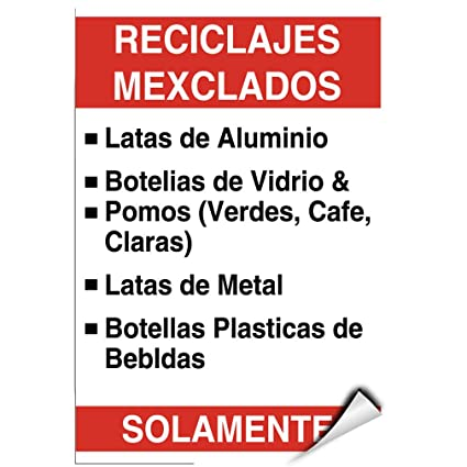 Recycling Mixed Aluminum Metal Cans Plastic Bottles Only LABEL DECAL STICKER 5 inches x 7 inches