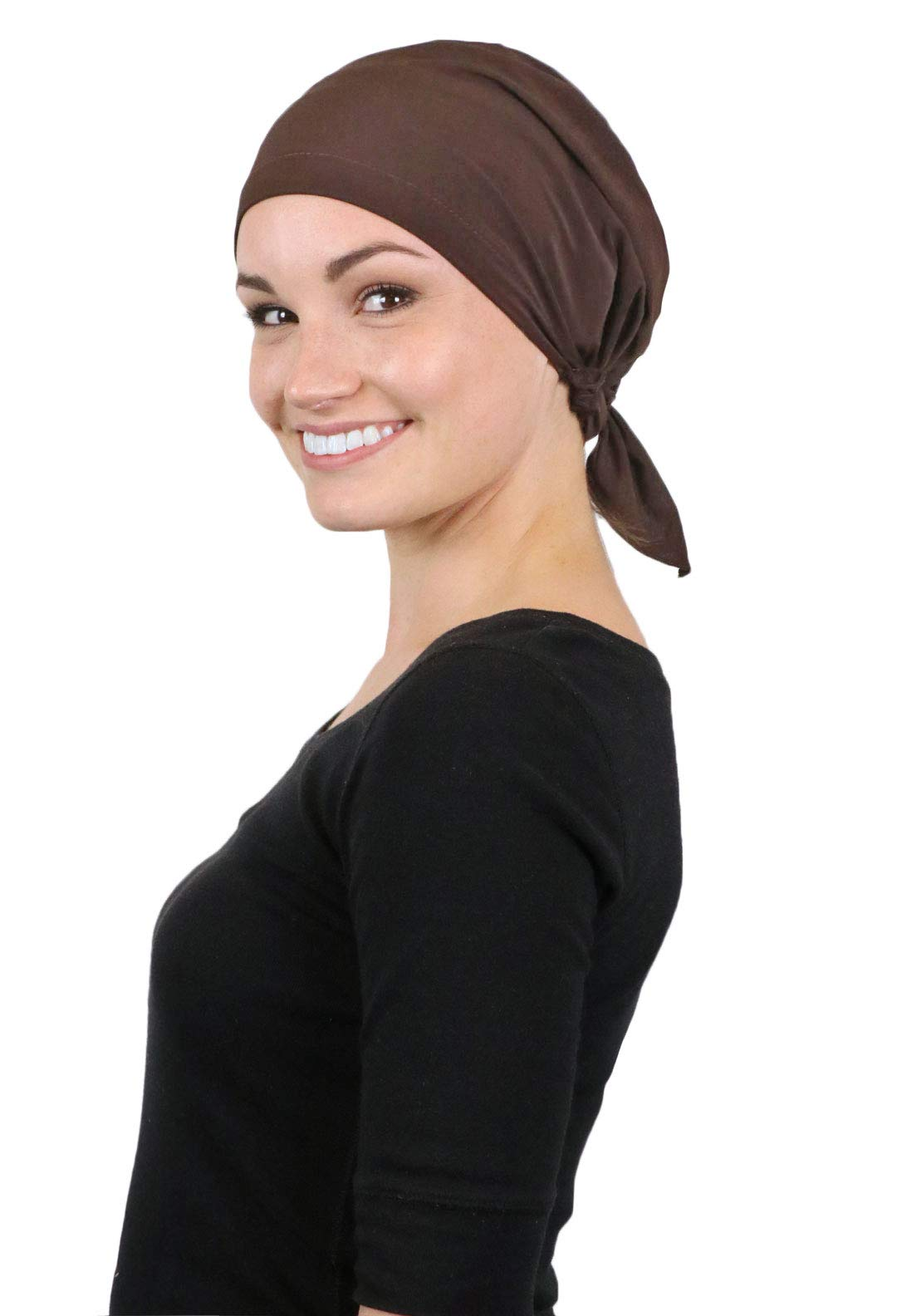 Head Scarf for Women Cancer Headwear Pre Tied Chemo Scarves Cap Coverings Lycra (Brown)
