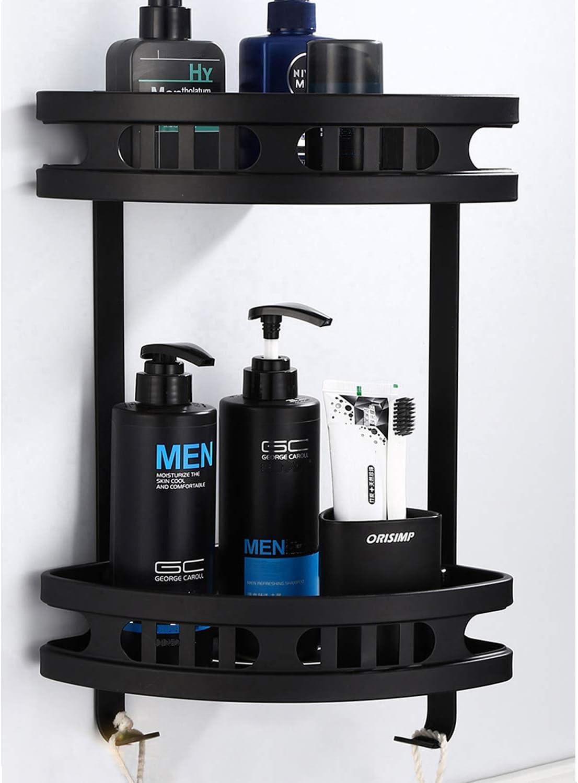 Estantes de baño sin perforaciones, estante de ducha de aluminio de 2 niveles, cesta de almacenamiento adhesiva