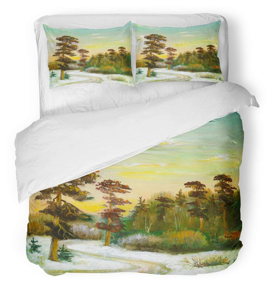 Emvency 3 Piece Duvet Cover Set Breathable Brushed Microfiber Fabric Oil Landscape with Road to Winter Wood Artist Canvas Clouds Drawing Exhibition Bedding Set with 2 Pillow Covers Twin Size