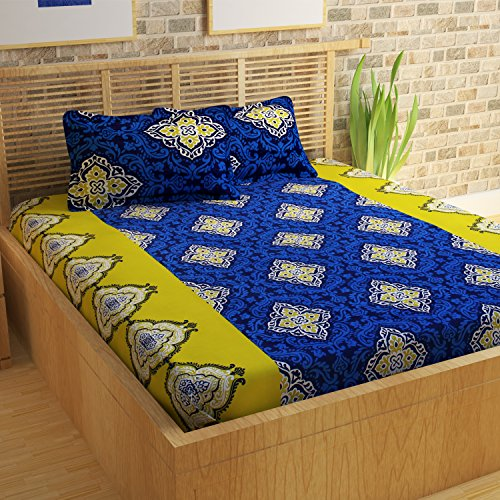 Story@Home Premium 120 TC Cotton Double Bedsheet with 2 Pillow Cove…