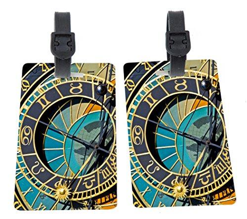 Astronomy Clock Close-Up Design Plastic Flexi Luggage Identifier Tags + Strap Closure -