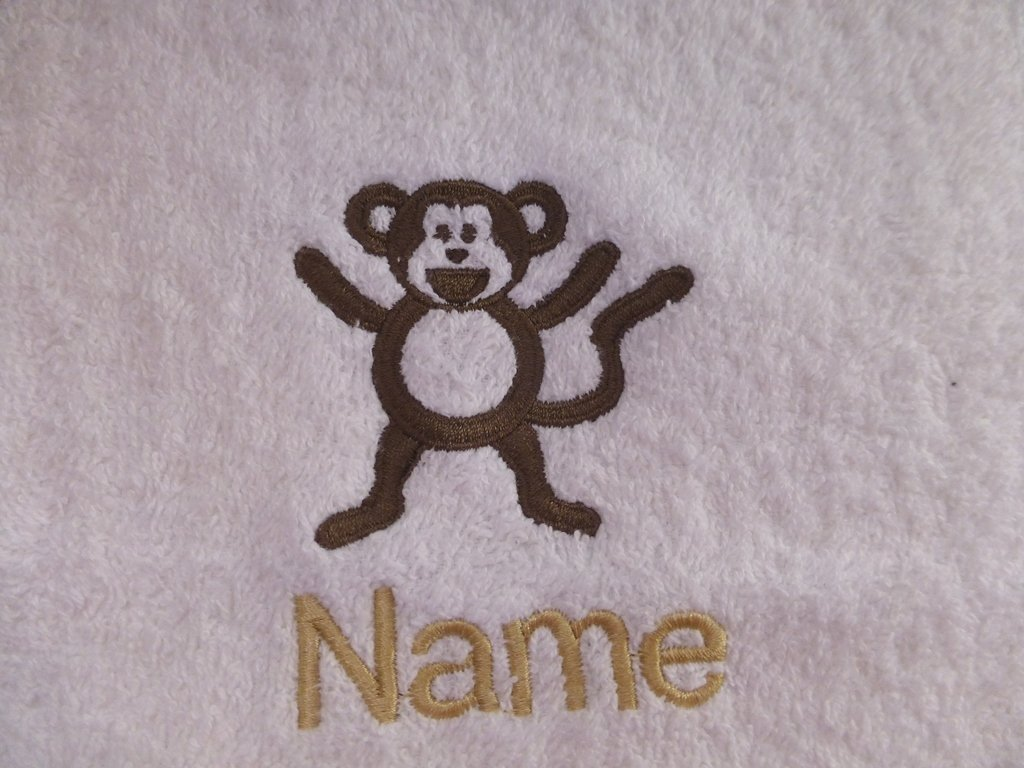 White Baby Hooded Bath Robe or White Hooded Towel with a MONKEY Logo and Name of your choice. (Hooded Towel 0-5 years) EFY