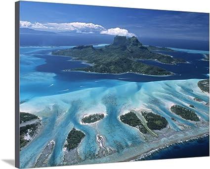Antena View más de Bora Bora, Polinesia francesa lienzo ...