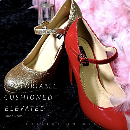 Round Fashion High Dress Strap Cushioned Women's DailyShoes Gold Heel Shoes Glitter Buckle Toe Eqp8n5wYxS