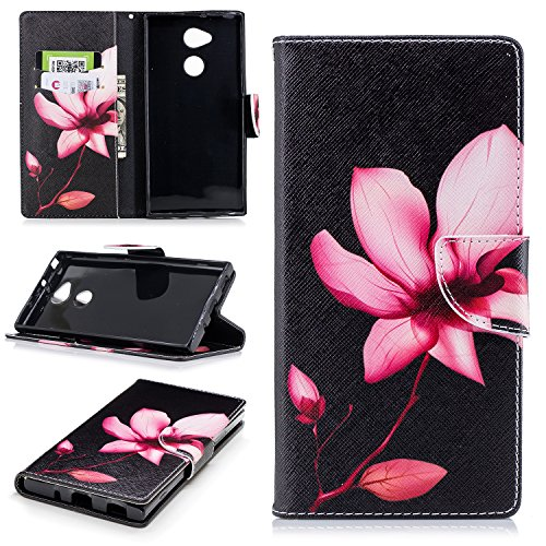 PU Built Case for Leather in Silicone Bookstyle Case Xperia Cover PU Flip Sony Cover XA2 Inner Panda Soft Protection Slots Cute Card Stand Pattern Wallet Cas Magnolia HongHushop Folio Wallet Magnetic Full Case qHE4wEY