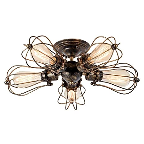 Luces de Techo de época, lámparas de araña industriales Luces de Techo rústicas con Montaje