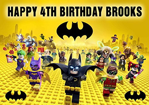 LEGO BATMAN Birthday Cake Personalized Cake Topper Edible Frosting Photo Icing Sugar Paper A4 Sheet 1/4 ~ Best Quality! ()
