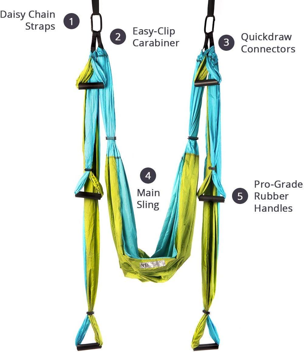 YOGABODY Yoga Trapeze (Oficial) con DVD, Color Azul/Turquesa ...