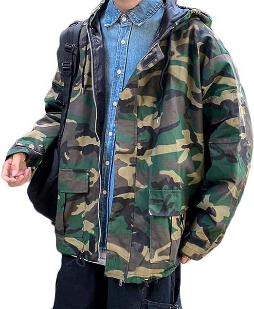 (フッカツ)メンズ 長袖 ミリタリージャケット 迷彩 デニムジャケット トップス ゆったり かっこいい ジャケット アウター 長袖 カジュアル 防風 春 秋 フード付き ファッション