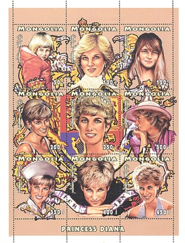 9 Portraits of Princess Diana at Different Ages 9 Postage Stamp Sheet Mongolia 2013