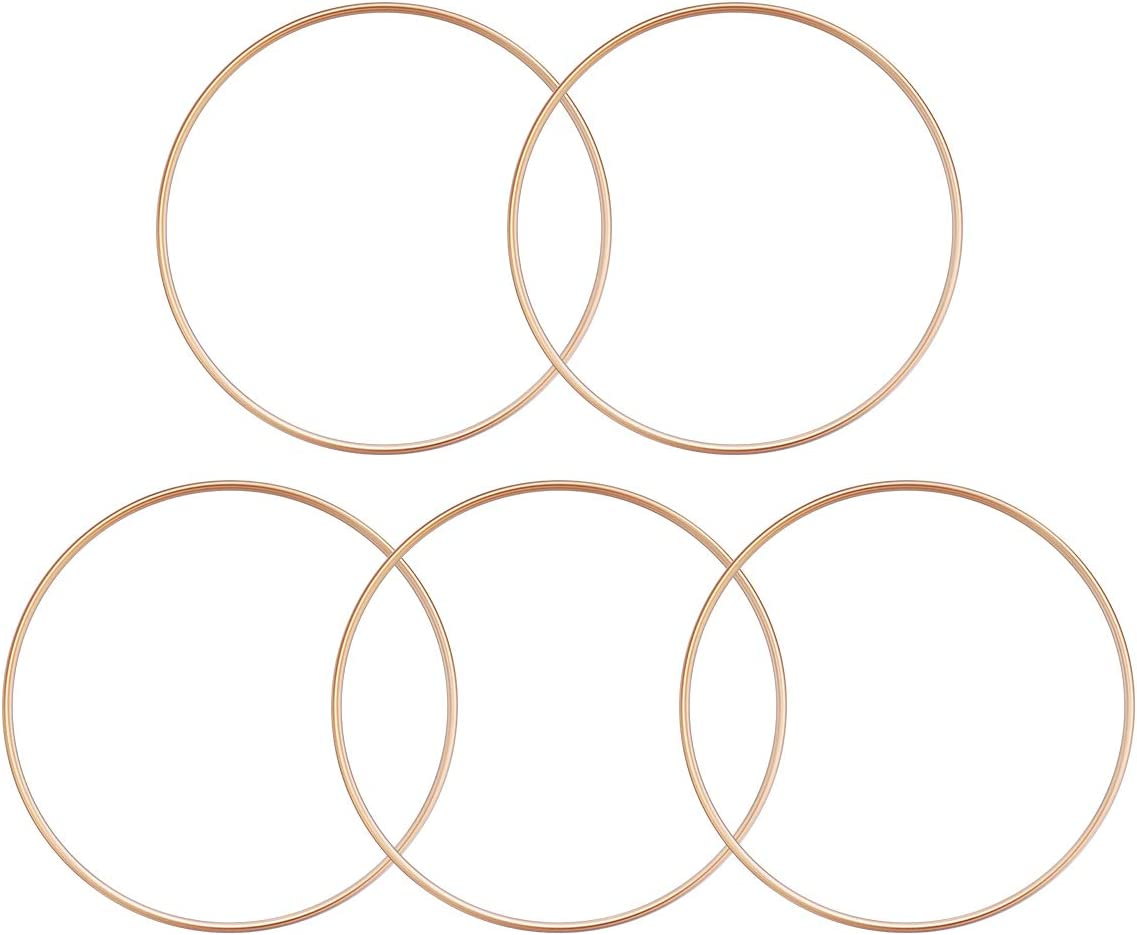 VOSAREA Anillos de Metal Dorado Anillos de Macramé para Atrapasueños y Artesanías 5 Piezas