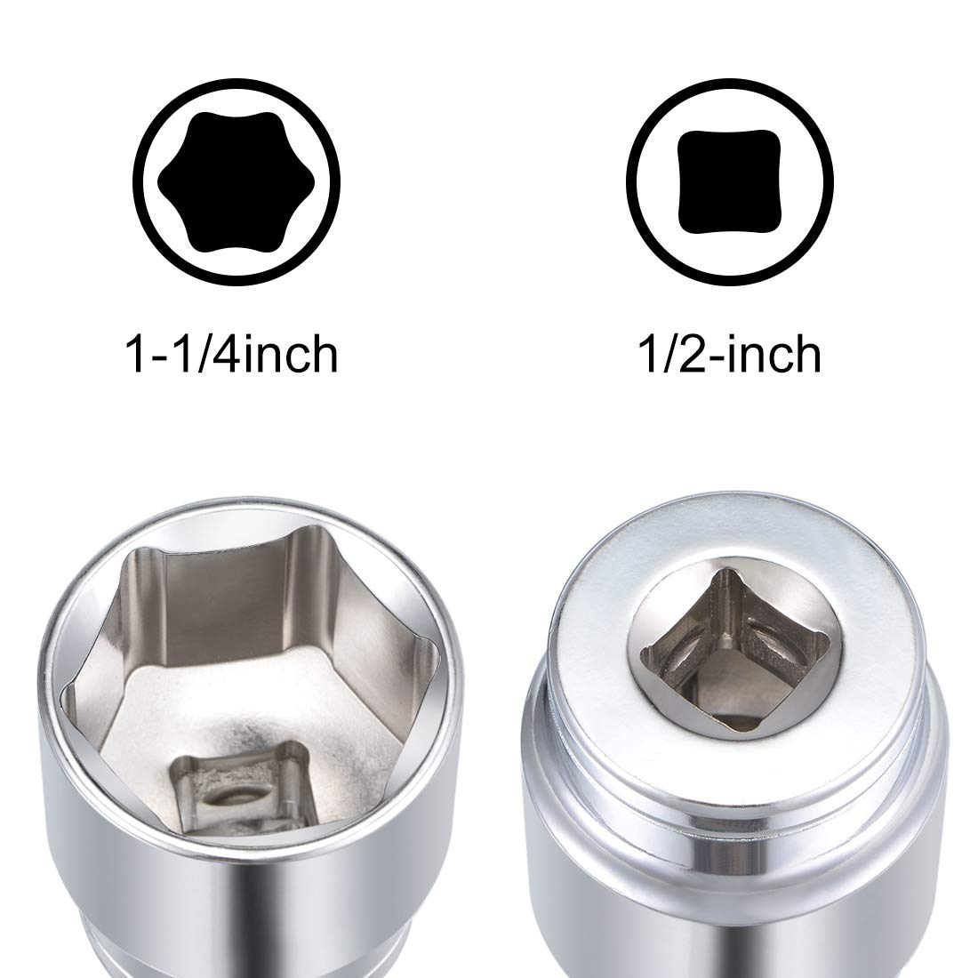 sourcing map 1//2 Inch Drive 6 Point Shallow Socket 1 Inch Cr-V Steel