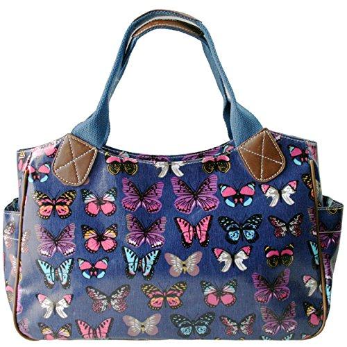 Miss Lulu - Bolso para mujer, de hule, con flores, búho, lunares o mariposas, color, talla M - Butterfly Navy