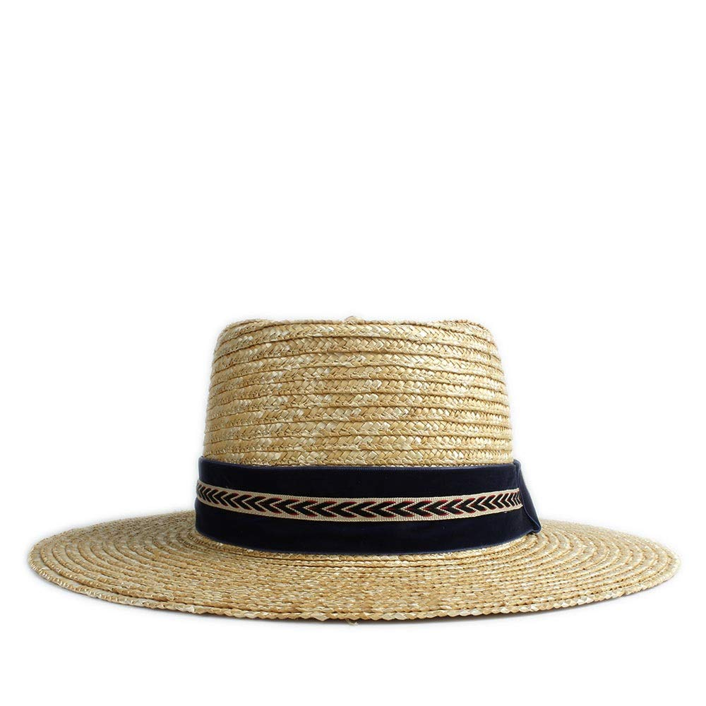 MUMUWU Sun Hat Straw Wheat Hat Fashion Hat Matt Cap Dark Blue Arrow Decoration Dome Hat Felt Pork Pie Cap (Color : 1, Size : 56-58CM)