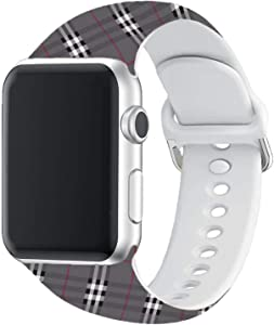 Yigko Sport Band Compatible for Apple Watch Band, Soft Silicone Wrist Replacement Strap for Watch Series 6/5/4/3/2/1/SE (TP Grey, 38mm/40mm S/M)