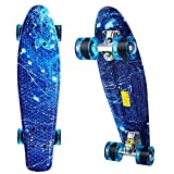 ANCHEER Mini Cruiser Board Complete - 22'' Retro Plastic Skateboard, for Youth Kids Boys Girls Age 4 up
